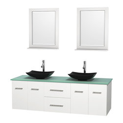 """Wyndham Collection - Centra 72"""" White Double Vanity, Green Glass Top, Arista Black Granite Sinks - Simplicity and elegance combine in the perfect lines of the Centra vanity by the Wyndham Collection. If cutting-edge contemporary design is your style then the Centra vanity is for you - modern, chic and built to last a lifetime. Available with green glass, pure white man-made stone, ivory marble or white carrera marble counters, with stunning vessel or undermount sink(s) and matching mirror(s). Featuring soft close door hinges, drawer glides, and meticulously finished with brushed chrome hardware. The attention to detail on this beautiful vanity is second to none."""