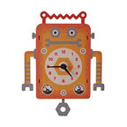 Robot Pendulum Clock - The colorful Robot pendulum children's wall clock is the perfect adorable time-keeper to add a bit of whimsy and decorative fun to any nursery or kid's bedroom. It is also an enjoyable gift for a child or newborn.