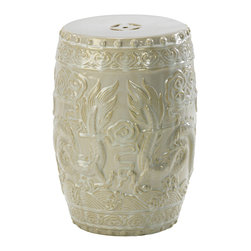 Kathy Kuo Home - Shanghai Antique Ivory Pale Sage Frost Ceramic Garden Seat Stool - Enter the dragon, indeed!  This off white ceramic stool is so elegant we want to keep in indoors!  Use it as a seat , small end table or plant stand and add a serious dose of Asian style to any space.