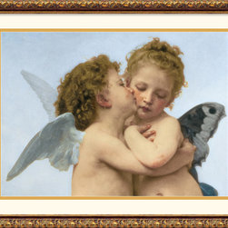 Amanti Art - The First Kiss (Detail, Wide) Framed Print by William-Adolphe Bouguereau - French artist Adolphe-William Bouguereau's famous oil painting of The First Kiss was done in 1873. Bourguereau's timeless images of history and mythology have become more valued every year, with the two lovely cherubs experiencing their first kiss as his greatest legacy.