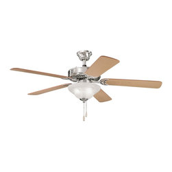 """BUILDER FANS - BUILDER FANS Sterling Manor Select 52"""" Transitional Ceiling Fan X-SSB012933 - A traditional look with clean, contemporary finishes, this Kichler Lighting ceiling fan is sure to please. From the Sterling Manor Collection, it features a crisp Brushed Stainless Steel finish that compliments the warm tones of the reversible oak blades and the white alabaster glass shade."""