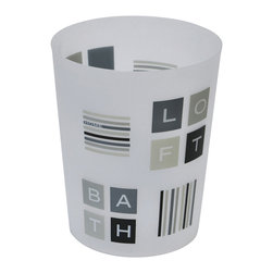 Printed Pp Trash Can Peace and Loft Grey 3-Liter/0.8-Gal - This printed trash can Peace and Lort for bathrooms is in polypropylene. It is opaque with letters and stripes. This trash can is a lovely accent for any bathroom with an open top, its capacity is 3-Liter/0.8-Gal. Diameter of 7.68-Inch and height of 9.45-Inch. Wipe clean with a damp cloth. Color grey and black. Add a fun and modern style to your bathroom decor with this lovely trash can. It's almost too pretty to toss trash into! Complete your Peace and Lort decoration with other products of the same collection. Imported.