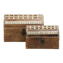 Unique and Distinctive Wood Metal Box Set Of 2 - Features: