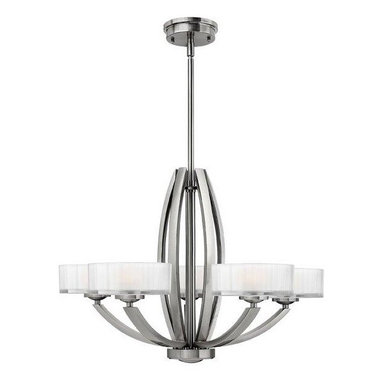 Introductions Straight From Dallas Lighting Market - A reflective surface adds a modern touch to this chandelier. Futuristic looking, this light hangs from the ceiling and has six lights attached at the ends. The curves of the arms and the main base of the piece give it an organic feel.