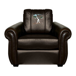 Dreamseat Inc. - Ski Cross Country Chesapeake Black Leather Arm Chair - Check out this Awesome Arm Chair. It's the ultimate in traditional styled home leather furniture, and it's one of the coolest things we've ever seen. This is unbelievably comfortable - once you're in it, you won't want to get up. Features a zip-in-zip-out logo panel embroidered with 70,000 stitches. Converts from a solid color to custom-logo furniture in seconds - perfect for a shared or multi-purpose room. Root for several teams? Simply swap the panels out when the seasons change. This is a true statement piece that is perfect for your Man Cave, Game Room, basement or garage.