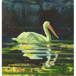 Chartreuse Pelican (Original) by Nancee Jean Busse - Sometimes, early in the morning when the sun tries to make its way through thick forest foliage, the forest floor is cast into an amazing green light. This particular morning in Grand Teton National Park was one like that. This beautiful pelican was floating on the quiet waters of Oxbow Bend, silhouetted against the loamy river bank. It was all lush, quiet, and beautiful.