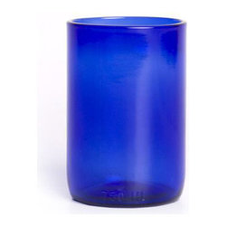 Bambeco Cobalt Clear Tumbler Glass - Crisp cobalt blue tumblers bring refreshing thoughts to mind while enjoying a cool drink These tumblers are created from the lower portion of recycled Westport Rivers Wine Bottles. Quench your thirst in style.  Cheers The company's trademark technique allows them to create two separate drinking glasses from one bottle without wasting any glass. The goblets are formed with the top halves of wine bottles, and the matching tumblers are created with the bottom halves. Holds 11 ounces.Care: Dishwasher safe.Handcrafted in the USA.Dimensions: 4.5H x 3W.