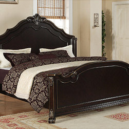 None - Jensen King-size Bed - This king-size bed is an impressive centerpiece to any bedroom with deep merlot finish accented and gold highlights. A regal headboard with hand-carved decorative molding and motifs is traditional styling at its best.