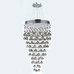 "Worldwide Lighting - Icicle 9 Light Chrome Finish Crystal Rain Drop Chandelier 20"" x 36"" - This stunning 9-light Crystal Chandelier only uses the best quality material and workmanship ensuring a beautiful heirloom quality piece. Featuring a radiant Chrome finish and finely cut premium grade clear crystals with a lead content of 30%, this elegant chandelier will give any room sparkle and glamour. Worldwide Lighting Corporation is a privately owned manufacturer of high quality crystal chandeliers, pendants, surface mounts, sconces and custom decorative lighting products for the residential, hospitality and commercial building markets. Our high quality crystals meet all standards of perfection, possessing lead oxide of 30% that is above industry standards and can be seen in prestigious homes, hotels, restaurants, casinos, and churches across the country. Our mission is to enhance your lighting needs with exceptional quality fixtures at a reasonable price."