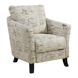 Monarch Specialties - Monarch Specialties 8007 Accent Chair in Vintage French Fabric - Bring a Parisian style to your home with this vintage French fabric accent chair. It features a curved, plush back, an extra thick boxed seat cushion, and solid wood post legs. This chair, with unique patterns, is designed with gentle edges for an elegant yet stylish charm.