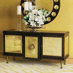 Global Views - Global Views Marcel Cabinet-Black/Gold Leaf - This unique silhouette is made from a hardwood frame, American white oak veneer, black stain, and gold metal leaf eglomise panels. The outside doors have touch latches and brass escutcheon plates with working lock and key. There is one adjustable shelf per outer compartment and no shelving in the center compartment. The center compartment has an oversized, decorative brass-plated knob and back plate.