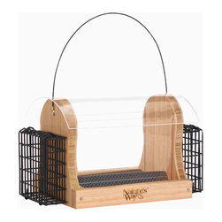 Nature's Way - Bamboo 4 Quart Hopper Seed and Suet Feeder - 4-Quart Hopper feeder with 2 suet cages holds up to 4 quarts of seed and 2 suet cakes, and is made of solid cross-ply bamboo. This feeder has a rust-free removable fresh seed tray with seed diverter and rain drainage that lifts out easily for cleaning.