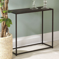 "TFG - Urban Mini Console Table - The sleek design of the Urban Mini table is well suited for smaller spaces. The frame is constructed from .5'' square hot-rolled steel bars and the steel top is 16mm thick. The Coco top has a slight texture giving it a natural, rustic look. Features: -Constructed with solid steel rods and steel plate tops.-Sleek design is well suited for smaller spaces.-Coco finish.-Beautiful and durable powder coat finish in Coco.-Collection: Urban.-Distressed: No.-Top Finish: Coco Powdercoat.-Base Finish: Coco Powdercoat.-Powder Coated Finish: Yes.-Gloss Finish: No.-Top Material: 18 gauge steel.-Base Material: Steel.-Reclaimed Wood: No.-Weather Resistant or Weatherproof: Not weather resistent.-UV Resistant: No.-Scratch Resistant: No.-Stain Resistant: No.-Moisture Resistant: No.-Drop Leaf Top: No.-Lift Top: No.-Adjustable Height: No.-Glass Component: No.-Nested Stools Included: No.-Legs Included: Yes -Number of Legs: 4.-Leg Type: Straight..-Magazine Rack: No.-Casters: No.-Exterior Shelves: No.-Cabinets Included: No.-Drawers: No.-Corner Block: No.-Cable Management: No.-Weight Capacity: 40 lbs.-Outdoor Use: No.-Swatch Available: Yes.-Commercial Use: No.-Recycled Content: No.-Eco-Friendly: No.-Product Care: Wipe clean with a dry cloth.Specifications: -FSC Certified: No.-ISTA 3A Certified: No.-ISTA 1A Certified: No.-CARB Certified: No.-General Conformity Certified: No.-ISO 9000 Certified: No.-ISO 14000 Certified: No.Dimensions: -Overall Product Weight: 18 lbs.-Overall Height - Top to Bottom: 22.75"".-Overall Width - Side to Side: 23.75"".-Overall Depth - Front to Back: 10"".-Table Top Thickness: 0.04"".-Table Top Width - Side to Side: 23.75"".-Table Top Depth - Front to Back: 10"".-Shelving: No.-Cabinets: No.-Legs: -Leg Height - Top to Bottom: 22.25""..Assembly: -Assembly Required: No.-Tools Needed: No tools needed.-Additional Parts Required : No.Warranty: -Product Warranty: 1 year limited warranty."