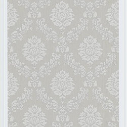 Graham and Brown - Costello Wallpaper - Gray/White - Costello is an in-register small scale damask wallpaper with a jacquard stitch effect into the Harvey plain background.