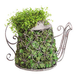 Evergreen - Woven Floral Tea Pot Garden Décor - Featuring intricate metalwork, a charming tea pot design and an iron build, this piece enlivens your garden tabletop with rustic whimsy.   Plants not included 11.5'' W x 8.5'' H x 7.25'' D Iron Imported