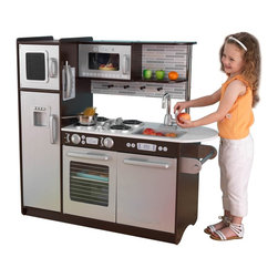 KidKraft - Uptown Espresso Kitchen by Kidkraft - Time to cook up a little fun! Our Uptown Espresso Kitchen has a hip, modern look that young chefs are sure to love. This wooden kitchen is full of fun details like a cordless phone and a chalkboard for writing the daily specials.