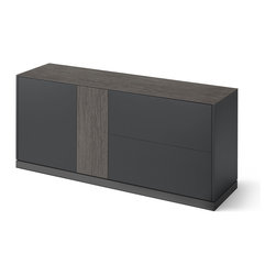 DomItalia Furniture - Contour Sideboard in Anthracite Matt Lacquer / Obsidian Ceramic - A modern solution for a dining area, the Contour Sideboard by DomItalia is designed and crafted with the finest Italian craftsmanship to provide functional storage and luxurious design appeal. The sideboard features two lateral doors with tempered transparent glass shelves inside. Finished in Anthracite matt lacquer and Obsidian ceramic.
