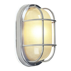 Exteriors - Exteriors Cast Aluminum Bulkheads Outdoor Wall Sconce / Ceiling Light X-65-793Z - This Craftmade Cast Aluminum Outdoor Wall Sconce/Ceiling Light will make you feel like your by the sea. However, you don't have to live by the ocean to decorate with this handsome piece, with its frosted halophane glass encased in a durable and relatively maintenance free frame in a stainless steel finish. It's an impeccably designed piece with a streamlined design and a nautical look and feel.