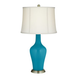 "Color Plus - Traditional Caribbean Sea Anya Table Lamp - Caribbean Blue Sea designer color table lamp. Off-white softback drum lamp shade. Brass finish base. Metal and glass construction. Maximum 150 watt or equivalent bulb (not included). On/off switch. Shade is 15"" across the top 17"" across the bottom 12"" high. 32 1/4"" high.  Caribbean Blue Sea designer color table lamp.  Off-white softback drum lamp shade.  Brass finish base.  Metal and glass construction.  Maximum 150 watt or equivalent bulb (not included).  On/off switch.  Shade is 15"" across the top 17"" across the bottom 12"" high.  32 1/4"" high."