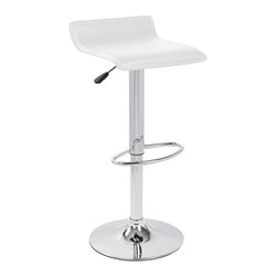 Lumisource - Ale Chrome Base Bar Stool w White Seat - 360 degree swivel. Chrome footrest. Adjustable height from counter to bar. Finish/Color: White. Material: Faux Leather, Chrome. Assembly Required. Dimensions: 15 in. L x 15 in. W x 34 in. H ( 12 lbs. ). Seat height: Adjustable from 21 in. to 30 in. A gentle wave in the upholstered white leatherette seat of the Ale Barstool creates a sleek comfort. Polished chrome pole, base, and footrest. Adjustable height hydraulics allows you to position the seat height anywhere from 21 to 30 inches. With the White Ale Barstool you get comfort and elegance at a great value!