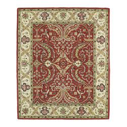 Kaleen - Kaleen Taj Collection Taj11-25 8'0X11' Red - The Taj collection is inspired with classic style and traditional patterns that mix beautifully with today's formal, casual, and transitional d_cor to complete a forever timeless masterpiece. Hand-tufted in India of 100% wool.