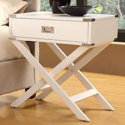 Inspire Q - Inspire Q 1 Drawer Accent Table with X Leg - 562A161W(3A) - Shop for Nightstands from Hayneedle.com! Dress up your living space with the smart style of the Inspire Q 1 Drawer Accent Table with X Leg. This charming accent table offers a solid wood construction and transitional look. Its top features metal corner accents and an inset pull handle on the drawer. Use it as an end table accent piece or wherever you need functional style.About Inspire QGet the designer look you've always dreamed of with help from the minds behind Inspire Q. Dedicated to creating pieces for your home that showcase your true style Inspire Q can serve as a valuable resource for finding both beautiful and comfortable home furnishings. With collections designed to inspire step-by-step resource guides and furnishings you'll love Inspire Q will surely become a go-to brand when it comes to the continued evolution of your dream home.