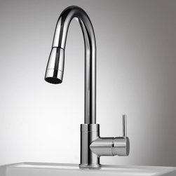 Finite Single Hole Kitchen Faucet with Swivel Spout and Pull-Out Spray - This contemporary faucet features a pull out spray head and single-lever handle that combine to offer a minimalistic look without sacrificing style or function.