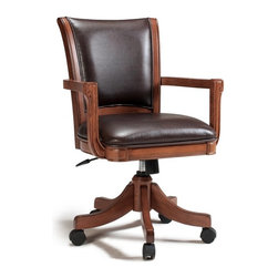 Hillsdale Furniture - Hillsdale Park View Chair Multicolor - 4186-800 - Shop for Chairs from Hayneedle.com! With a high gently sloped back and plush brown leather upholstery you'll be just as comfortable in the Hillsdale Park View Chair at the end of the work day as you were at the start. Crafted to last with durable solid wood climate-controlled wood composites and strengthening wood veneers in a rich cherry shade this elegant traditional chair boasts straight supportive arms and subtly carved trim. Attached bottom casters keep things moving smoothly. About Hillsdale FurnitureLocated in Louisville Ky. Hillsdale Furniture is a leader in top-quality affordable bedroom furniture. Since 1994 Hillsdale has combined the talents of nationally recognized designers and globally accredited factories to bring you furniture styling and design from around the globe. Hillsdale combines the best in finishes materials and designs to bring both beauty and value with every piece. The combination of top-quality metal wood stone and leather has given Hillsdale the reputation for leading-edge styling and concepts.