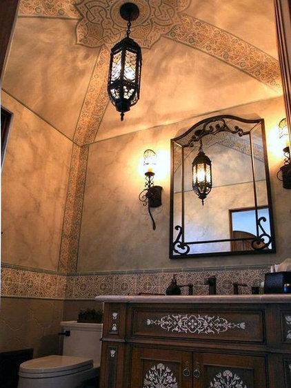 Mediterranean Powder Room by Jeff Raum Studios