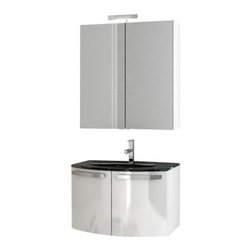 ACF - 28 Inch Glossy White Bathroom Vanity Set - Just the bath vanity for a more modern bath - start with this bath vanity.