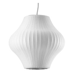 Modernica - Bubble Lamp, Pear, Small - Taking its cues from midcentury design, this handcrafted ceiling pendant features a white ridged shade in an onion shape, six feet of white cord and a brushed-nickel ceiling plate. Flank your bed or vanity with two or place one over your breakfast table for a little earthy, organic enlightenment.
