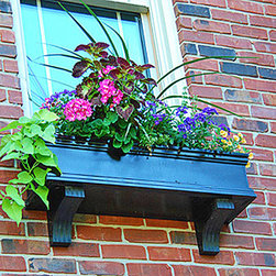 Charleston (Black) Window Boxes - At Flower Window Boxes we are helping to transform the window box industry as your affordable no rot solution to window box gardening. Our Charleston window boxes are made from a no rot PVC material that looks, paints, and feels identical to wood. Get the look of wood and avoid all the maintenance. Benefits include: