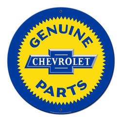 Past Time Signs - Chevy Parts Round Metal Sign 28 x 28 Inches - Chevy Parts Round Metal Sign 28 x 28 Inches