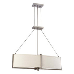 Hazel Bronze Energy Star Oval Chandelier/Pendant With Khaki Fabric Shade - Width: 32""