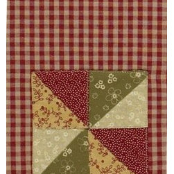 Mill Village Dish Towel - Red checked dish towel with patchwork design.