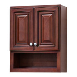 None - Grand Reserve Cherry Bathroom Wall Cabinet - This elegant bathroom wall cabinet is perfect for discretely storing all of your toiletries. It has a rich cherry finish that could be the start of a bold,natural color scheme,and an open box shelf for holding items you need to access every day.