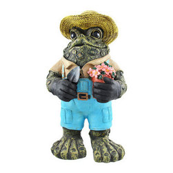 Toad Hollow Standing Gardener Frog Garden Statue - The Toads Of Toad Hollow are a collection of statues that add whimsy and imagination to your home. This standing gardener frog certainly has a green thumb! He wears blue overalls, tan shirt and straw hat, and holds a pot of flowers in one hand, a ga