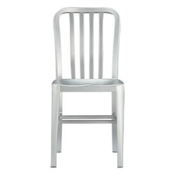 Delta Side Chair - A sleek anodized finish on aluminum makes for a polished perch with contoured back and seat. Part of the Delta Side Chair and Cushion Collection.