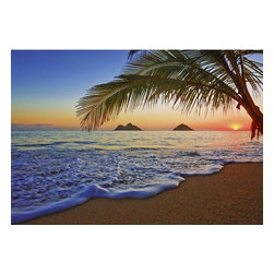 Pacific Sunrise Wall Mural - Capture the beauty of a beach sunrise with this breathtaking wall mural where the first hints of daylight can be seen washing over a magical ocean scene.