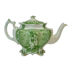 Lavish Shoestring - Consigned Porcelain Teapot w/ Oriental Style Decoration in Green, English Victor - This is a vintage one-of-a-kind item.