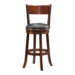 "Boraam - Boraam Palmetto 29"" Swivel Bar Stool in Walnut - Boraam - Bar Stools - 47129 - This beautifully constructed swivel stool is the perfect addition to your home. The attractively designed backrest plus the plush black seat exuberates sophistication. The compatible design will undoubtedly merge seamlessly with any style kitchen basement game room or bar! Constructed from solid hardwood made with precision construction and features a steel ball bearing swivel plate for a flawless three hundred and sixty degree swivel making the Palmetto stool a durably solid piece of furniture. Performance tested by the leading testing facilities that are recognizable worldwide purchasing this stool is not only a smart choice but also a wise investment. Additionally the sleek bonded leather upholstery encases a high-density foam cushion providing the maximum level of comfort for all who sit."
