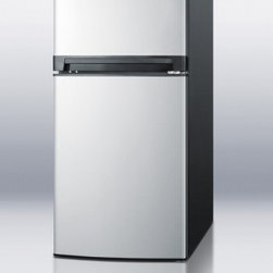 "Summit - FF874SSIM 24"" 8.1 cu. ft. Top-Freezer Refrigerator  Thin-Line Design  Full-Sized - SUMMIT carries a diverse collection of frost-free refrigerator-freezers with slim dimensions for smaller kitchens and superior construction for years of reliable service"