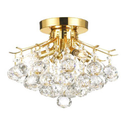 The Gallery - Gold Finish Crystal chandelier with 4-Light Lighting - 100% crystal chandelier, this Empire chandelier is characteristic of the grand chandeliers which decorated the finest Chateaux and Palaces across Europe and reflects a time of class and elegance which is sure to lend a special atmosphere in every home.