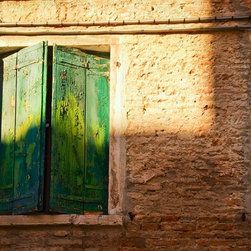 """""""Green Shutters, Venice"""" Artwork - This is an image of the brilliant decay of Venice. Green shutters show their age in layers of peeling paint.  This is a limited edition series of 35, printed on Hahnemuhle photorag pearl paper, which is a beautiful heavy paper."""