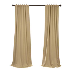 """Exclusive Fabrics & Furnishings, LLC - Llama Beige Blackout Curtain - SOLD PER PANEL. 100% Polyester. 3"""" Pole Pocket with  Back Tabs. Unlined. Imported. Weighted Hem. Dry Clean Only."""