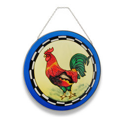 Zeckos - Colorful Orange Red and Blue Rooster Suncatcher Window Accent - Adding a bit of color to your windows is so easy with this very handsome and colorful rooster. A red, orange and green rooster takes center stage in this round sun-catcher and is framed in a bright blue that only accentuates this proud barnyard fowl. Made of colored glass, it will shine brightly in the sunlight and cast a beautiful glow when hung in a window using the attached metal chain, yet would look just as stunning hanging on a wall It's the perfect size to display on a plate rack in your favorite room, too at 10 inches in diameter, and would make a very welcomed gift for a rooster collecting friend!
