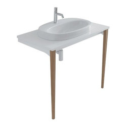 Ceramica Globo - Ceramica Globo | Affetto Console With Recessed Sink - Made in Italy by Ceramica Globo.A part of the Affetto Collection. The Affetto Floor-Mounted Console With Recessed Sink is a functional bathroom addition that makes a substantial impact in your modern space. This sturdy sink console is made from a combination of MDF and premium ceramic that resists stains and decay from everyday use. Utilize the large sink perimeter to store toiletries, soaps, and more. Product Features: