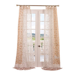 Exclusive Fabrics & Furnishings, LLC - Marietta White Patterned Sheer Curtain - White done right. Give your room the perfect finish with these impeccably tailored sheers. They diffuse the light beautifully to give your room a whole new outlook.