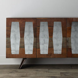 Horchow - Berlin Console - Mid-century Modern continues to have a strong presence in the marketplace, and this console is a nice—and versatile—interpretation of the trend. Handcrafted of oak, guanacaste, peroba, and walnut with a rustic, heavily distressed finish. Doo...