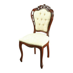 EuroLux Home - Large New Italian Rococo Dining Chair Ivory - Product Details
